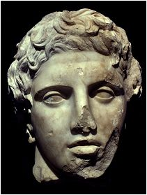Tête de la statue d'Alexandre.